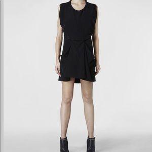All Saints Size 6 Saelde Drapped Mini Dress Black